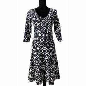 Boden Blue & White V-Neck Pullover A-Line Dress- 4